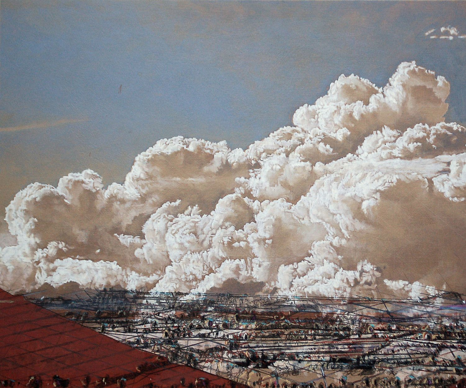 Cloudscape 51, 2008, acrylic on wood, 40 x 48 cm