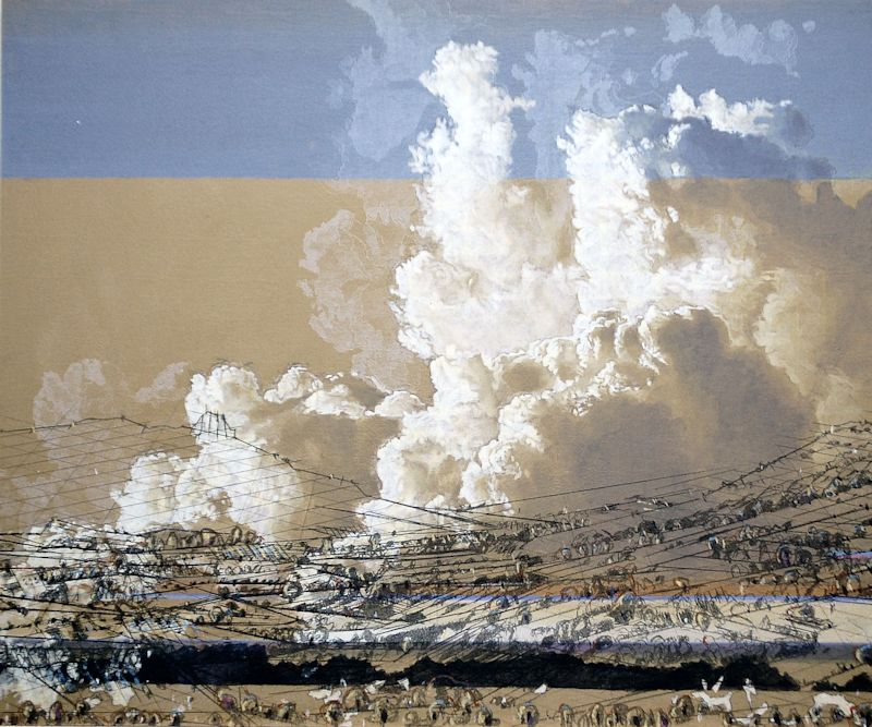 Heike Negenborn, Red Valley, 2008, acrylic on wood, 40 x 48 cm