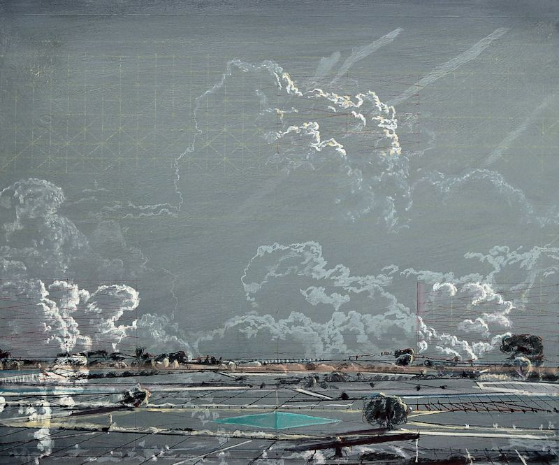 Heike Negenborn,Triangle of clouds, 2009, acrylic on wood, 40 x 48 cm