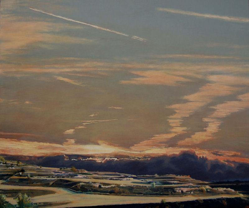 acrylique sur bois, image, images, tableau, tableaux, paysage, landscape , landschat, landschaftsbild, wolkenbild, skyscape, cloudscape, Kondenzstreifen, condensation trails