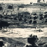 Landscape, drypoint from plexiglass, aquatint, chine collée, 50x60cm