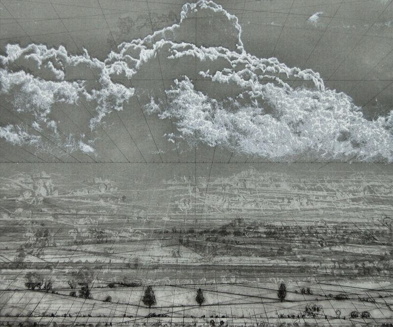 """""""Nuage blanc N°1"""", 2017, techniques mixtes, 50x60 cm"""