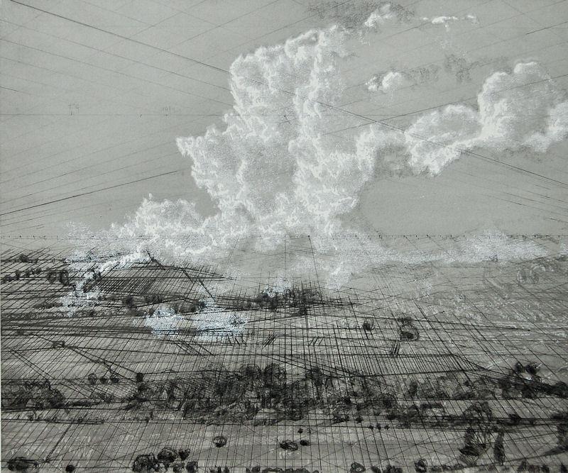 """""""Nuage blanc 2"""", 2017, technique mixte, 50x60 cm"""