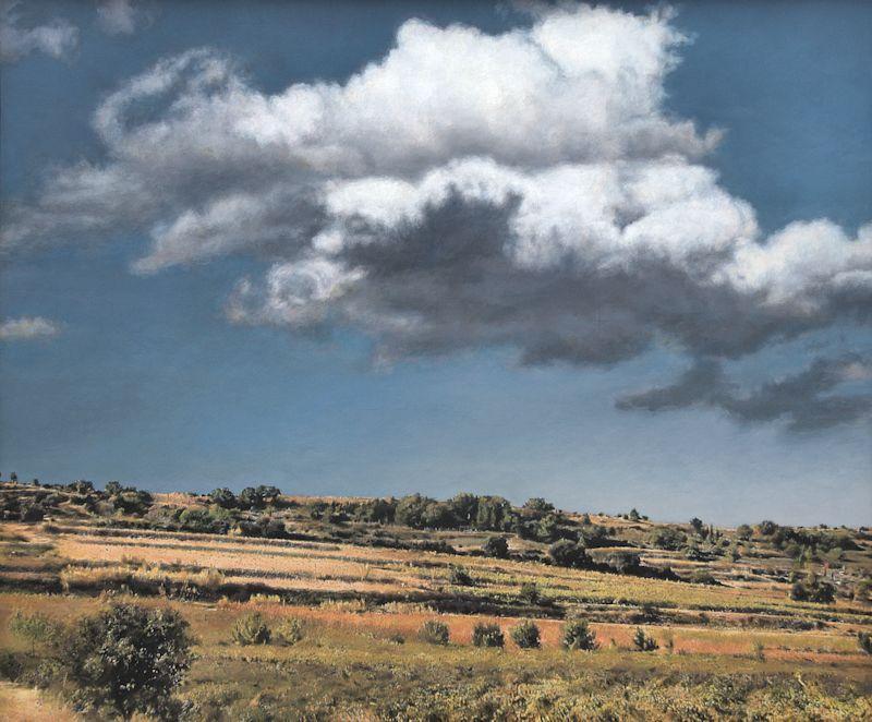 Sunny Hillside 2, 2014, Acryl auf Holz, 76 x 64 x 6 cm