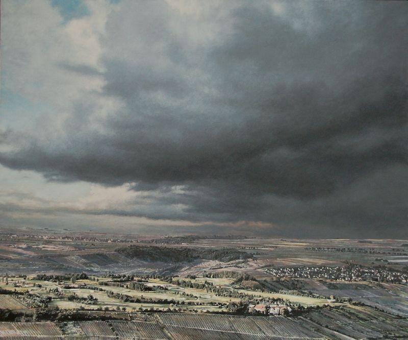 Blick auf den Wißberg, 2016, Acryl auf Holz, 64 x 76 x 6 cm