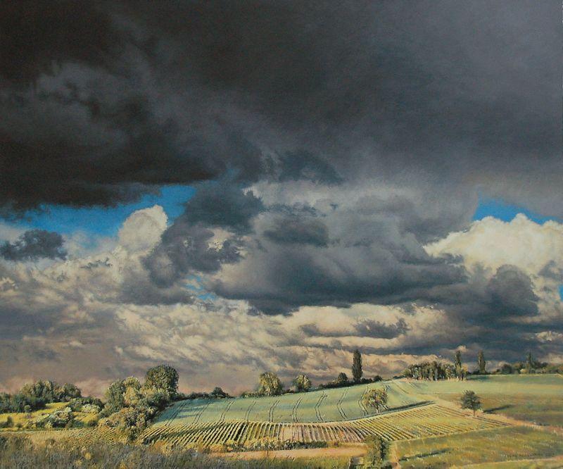 Blick vom Wißberg, 2016, Acryl auf Holz, 64 x 76 x 6 cm