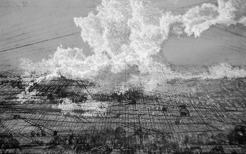 Geo-Scape 1, 2016, Tinte, Kreide, Kohlestift auf Büttenpapier, 95 x 140 cm