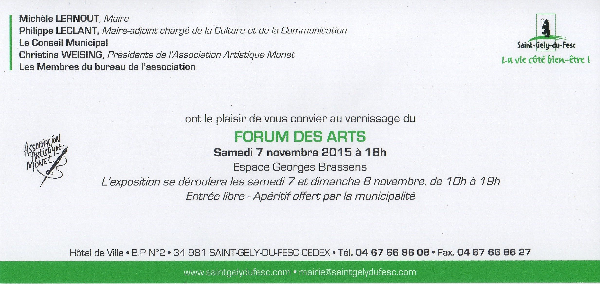 Invitation Forum des Arts 2015