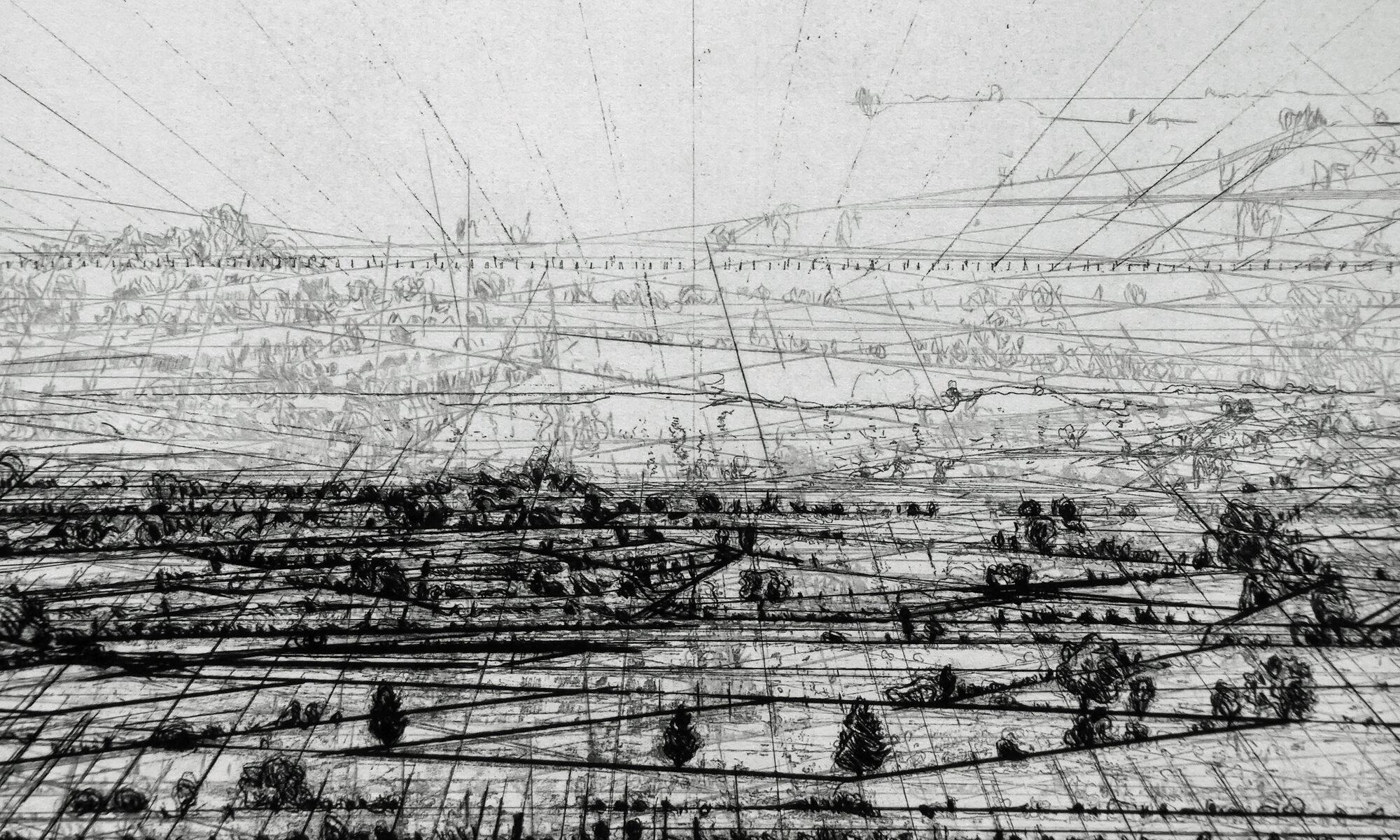 Eine Landschaft reduziert auf schwarze Perspektivlinien ohne Wolke auf weißem Büttenpapier gedruckt.