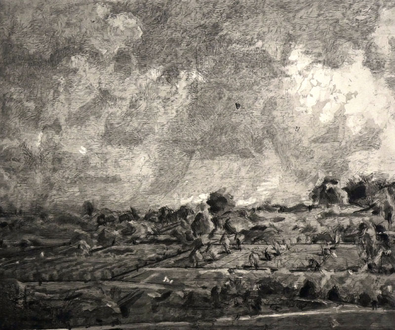 In Schwarz und Weiß gezeichnete Landschaft auf elfenbeinfarbenen Papier mit drohender Gewitterwolke.