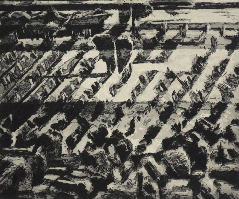 Landschaftsausschnitt mit südfranzösischem Weinberg von oben in Schwarzweißtönen auf grünlichem Papier. In der Mitte befindet sichein Baum.