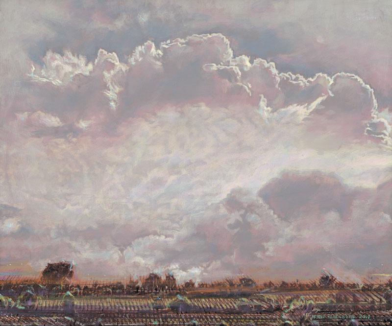 Über einer gerasterten Landschaft mit niedrigem Horizont zieht eine gewaltige rosa Wolke.