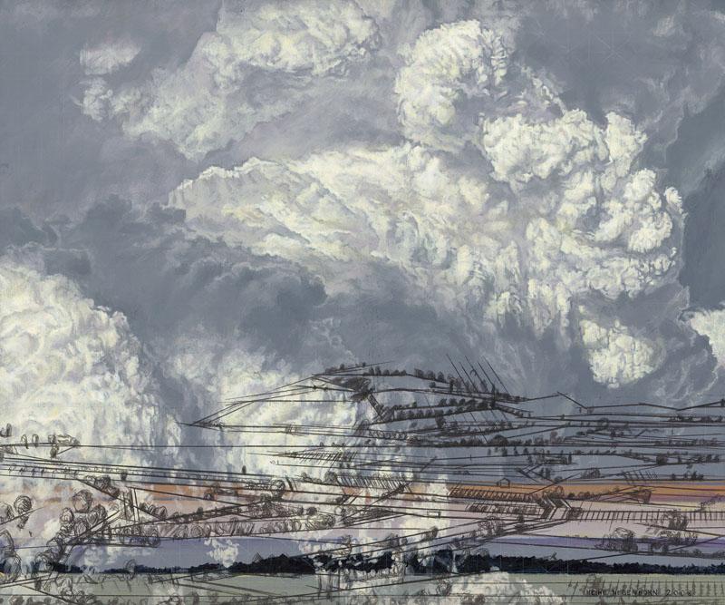 Eine gewaltige Wolke wird von einem skelettartigem Landschaftsraster durchdrungen. Die Farben sind verfremdet,