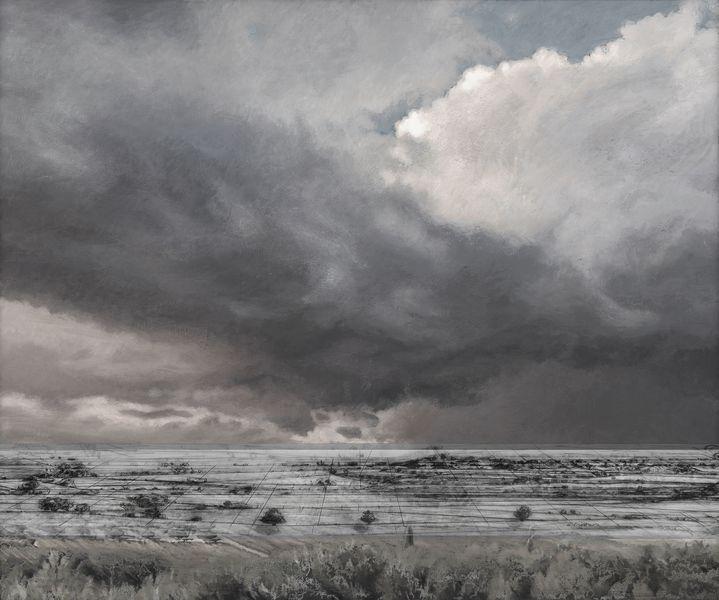 Netscape 1 · Landschaft im Wandel, 2014, Acryl und Mischtechnik auf Leinwand, 130 x 155 x 4 cm Museum Wilhelm Morgnerr