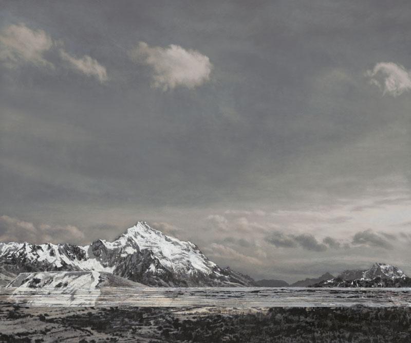 Huayna Potosi, Bolivien, 2019, Acryl auf Holz, 64 x 76 cm