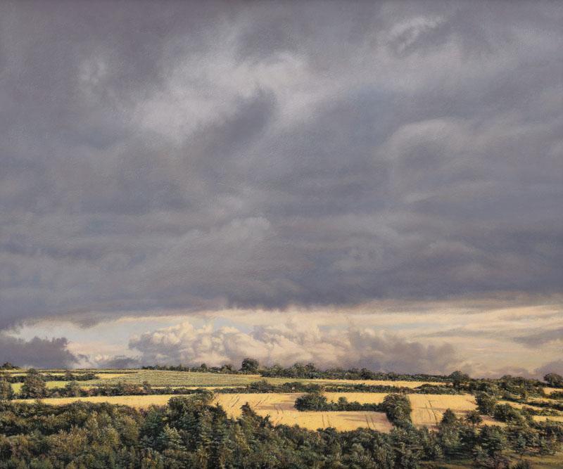 Sommerlich gelbliche Landschaft in der Südpfalz mit niedrigem Horizont. Darüber schweben violette Wolken.
