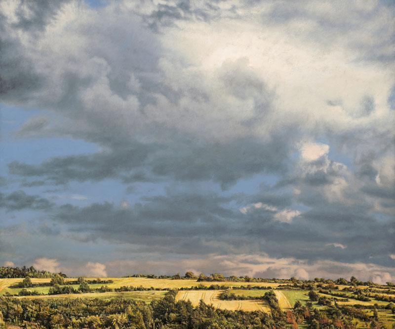 Sommerliche leuchtend gelbe Landschaft mit niedrigem Horizont und Cumuluswolken vor kobaltblauem Himmel.