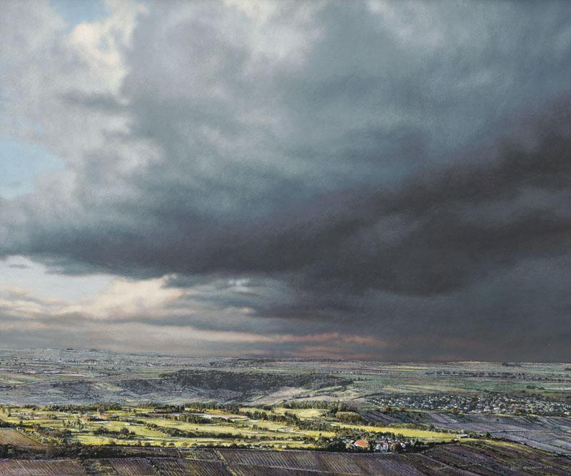 Rheinhessische Landschaft von oben mit leuchtend gelben Feldern im Vordergrund. Eine bedrohliche graublaue Gewitterwolke bespielt zwei Drittel des Bildes.