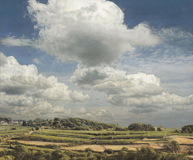 Sommerliche Landschaft mit niedrigem Horizont und Schönwetterwolken.
