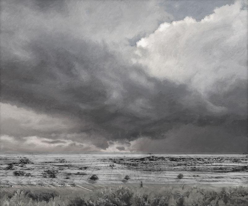 Weites, vom Menschen gezeichnete Panorama mit tiefliegenden Horizont. Die Schmetterlingswolke und die mit einem Raster versehene Landschaft sind monochrom im Stile der niederländischen Landschaftsmalerei.