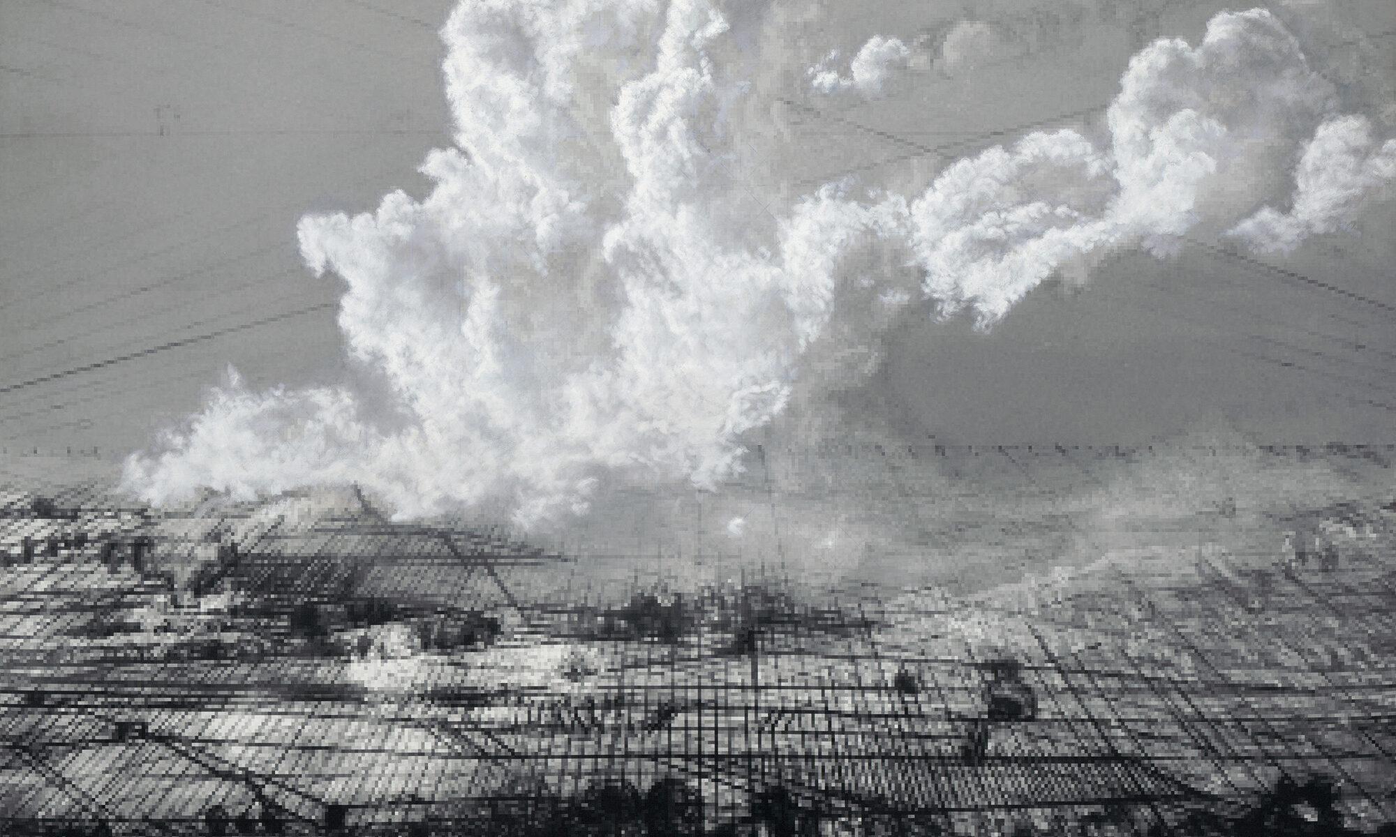 Netscapes sind Gemälde von Panoramen mit Wolken- und Erdfragmenten auf perspektivisch aufgefächerten Gitternetzen, die sich in digitale Pixel auflösen. Die Überformung der Kulturlandschaft wird durch die Reduktion meiner ansonsten stark farbigen Palette auf Schwarz- und Weißtöne und durch die Darstellung der Landschaft als Konstrukt untermauert. Deutlich sichtbare Konstruktions- und Perspektivlinien legen meine Strategie offen und unterstützten die Tiefenwirkung im Bild.